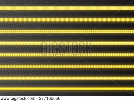 Yellow Led Strips Collection, Bright Luminous Ribbons Isolated On A Transparent Background. Realisti