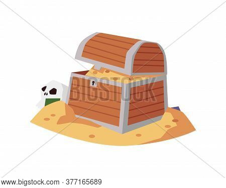 Pirate Vintage Wooden Chest With Gold Coins, Flat Vector Illustration Isolated.