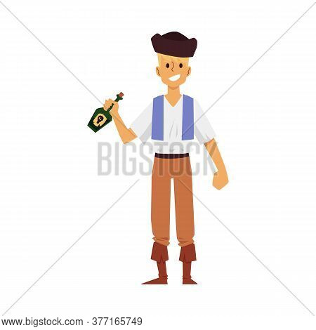 Cartoon Pirate Man With Bottle Of Rum - Young Boy In Hat And Marine Costume