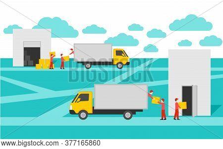 Door-to-door Delivery Service Conceptual Illustration - Cargo Truck Shipment With Loaders Team