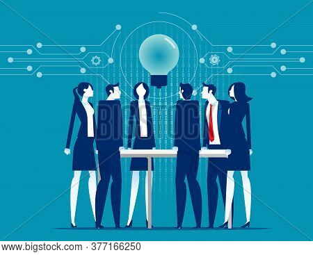 Leadership Unity. Process Support Concept. Flat Cartoon Vector Style Design