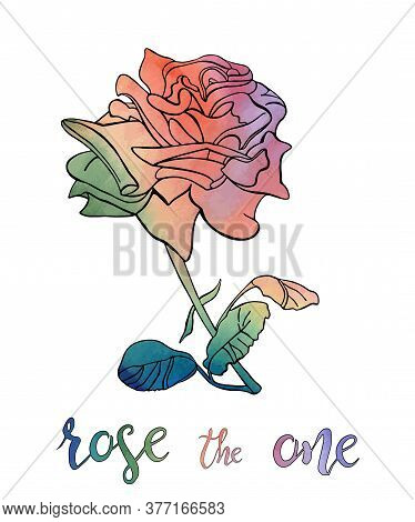 Vector Illustration Of Outline Rose With Stem And Leaves Isolated On White Background
