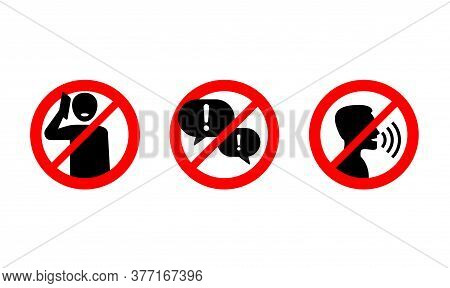 No Phone Talking, Silence Please, Keep Quiet - Prohibition Vector Sign In Three Variations - Vector