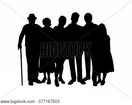 Family Silhouette Kids Parents And Grandparents. Illustration Graphics Icon