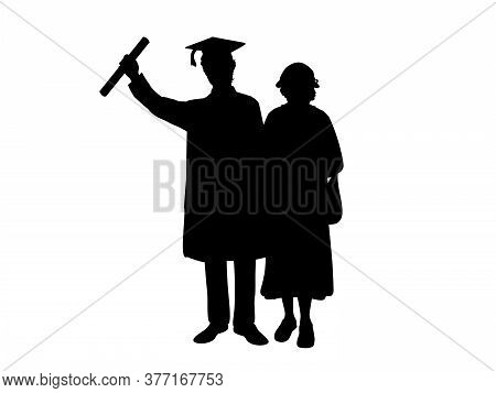Silhouettes Of Male Graduate Hugs Grandmother. Illustration Graphics Icon