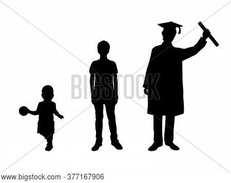 Silhouette Graduate Growing Up. Kid Boy Young Man. Illustration Graphics Icon