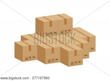 Pile Crate Boxes 3d Cube, Cardboard Box For Factory Warehouse Storage, Cardboard Parcel Boxes Stack,