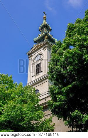 Bell Tower Of The Cathedral Church Of St. Michael The Archangel, Serbian Orthodox Church In The Cent