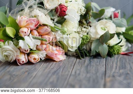 Flowers As Gift For Womens Day Valentines Day. Stylish Wedding Attributes Of Bride. Beautiful Bouque