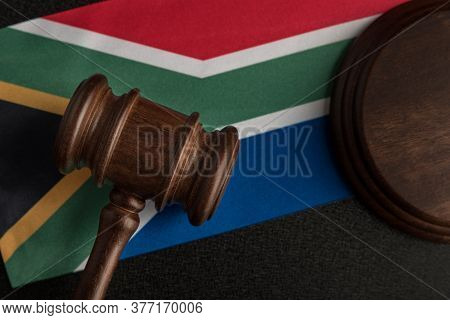 Judge Gavel On Background Of The Flag South Africa. Law And Justice.  Constitutional Law
