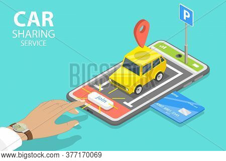 3d Isometric Flat Vector Concept Of Shared Mobility, Car Sharing Service App.