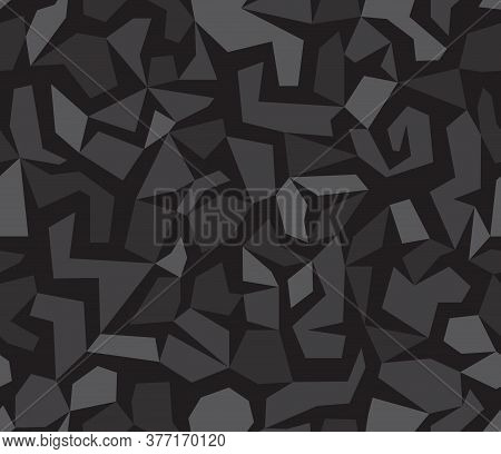 Debris Camouflage Seamless Pattern Background. Geometric Camo Dark Black Repeat Print. Vinyl Print O