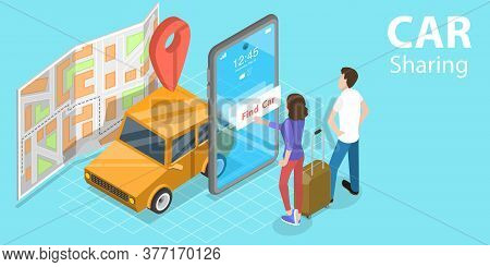 3d Isometric Flat Vector Concept Of Car Sharing Service App, Shared Mobility.
