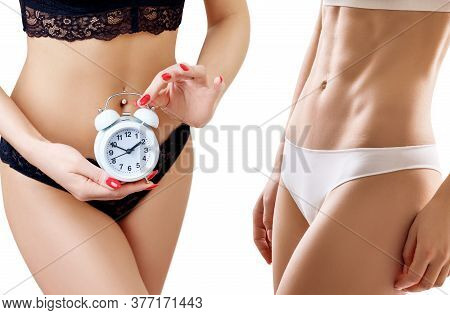 Collage Of Woman Slimming With Time Regime. Time Limit Concept. Isolated On White Background.