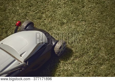 Professional Grass-cutter Mowing Green Lawn On Backyard. Gardening Care Equipment. Sunny Day, Close