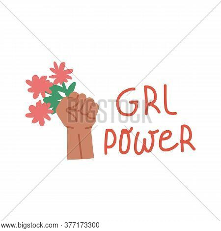 Promoting And Motivating The Inscription On The Label Of Girl Power. Illustration Of An Inscription