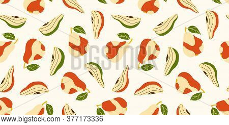 Seamless Pattern For Design, Printed Products, Textiles. Autumn And Summer Motives. Beige-red Pears