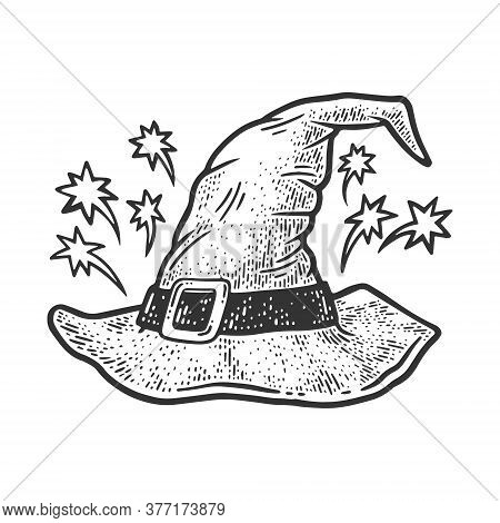 Wizard Hat Sketch Engraving Vector Illustration. T-shirt Apparel Print Design. Scratch Board Imitati