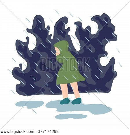 Illustration Of A Girl Walking In The Rain. The Image Shows A Weather Phenomenon, Torrential Rain. A