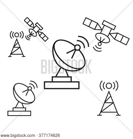 Satellite Communication, Wireless Satellite, Connection Satellite Technology Icons