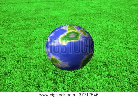 earth sphere with green background
