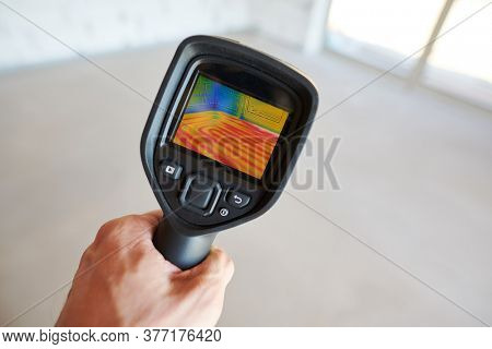 thermal imaging camera inspection for temperature check and finding heating pipes in floor