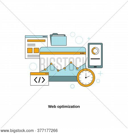 Web Optimization Concept. Vector Template For Website, Mobile Website, Landing Page, Ui.
