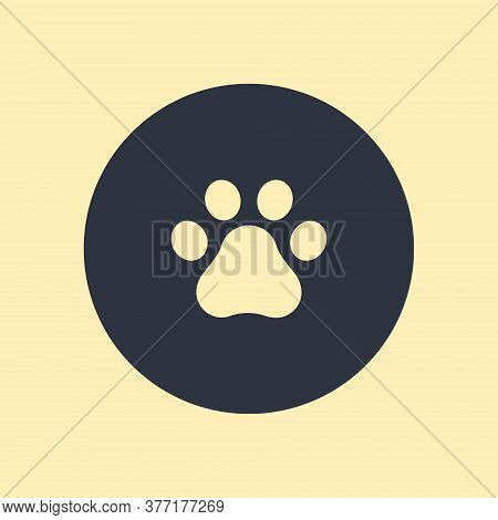 Paw Print. Traces Of A Dog Icon. Vector Symbol On Round Background