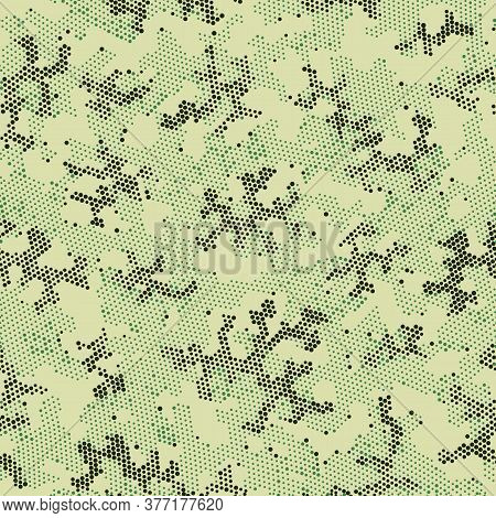 Green Repeated Halftone Camouflage, Vector Art.  Seamless Graphic Brown Color, Camo Print. Khaki Rep