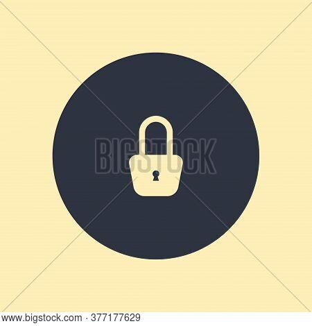Lock Icon. Vector Symbol On Round Background