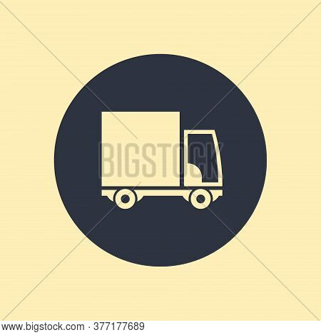 Delivery Truck Icon On White Background. Vector Illustration Vector Symbol On Round Background