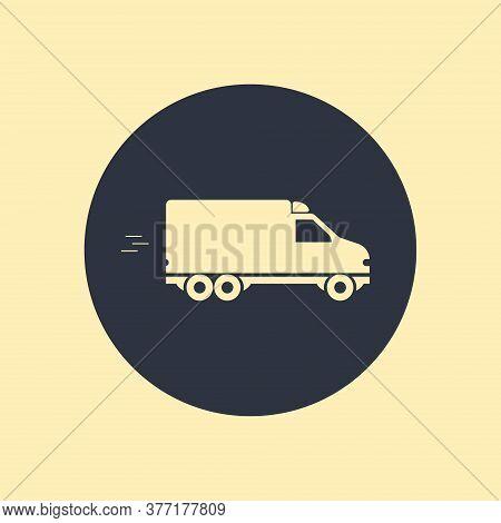 Bus Vector Icon. Vector Symbol On Round Background