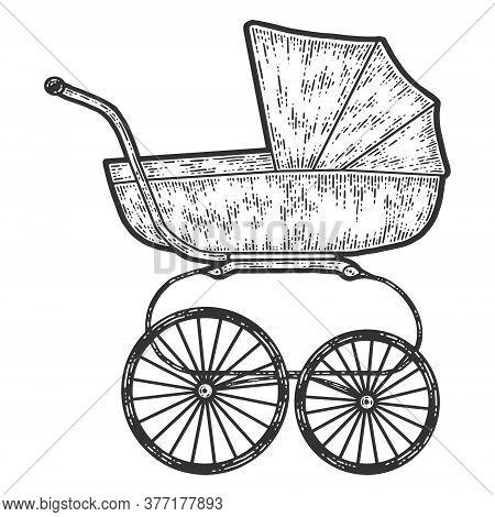Vintage Baby Stroller. Sketch Scratch Board Imitation. Black And White.
