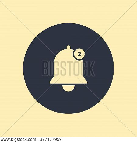 Notification Bell Outline Vector Icon For App. Vector Symbol On Round Background