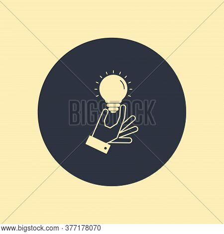 Hand Holding Light Bulb Or Idea. Business Idea Concept On Round Background