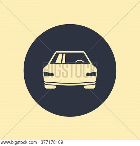 Car Icon Vector Symbol On Round Background
