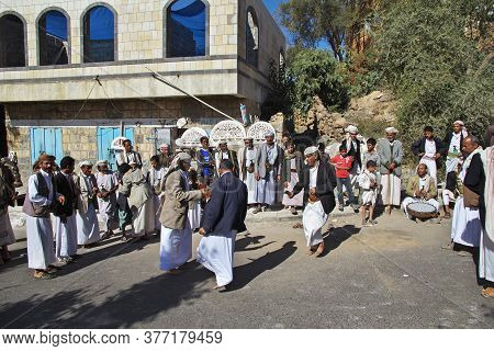 Al-mahwit / Yemen - 03 Jan 2013: Some People In Al-mahwit Village In Mountains, Yemen