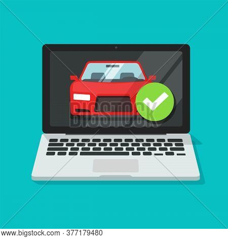 Vehicle Car Online Insurance Contract Policy Document On Laptop Computer With Approved Checkmark Sec