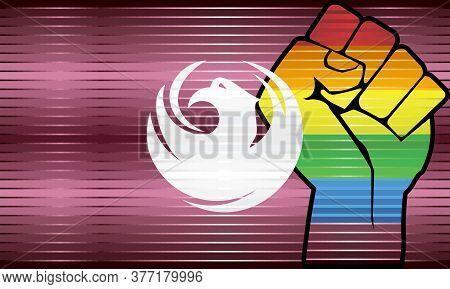 Shiny Lgbt Protest Fist On A Phoenix Flag - Illustration,  Abstract Grunge Phoenix Flag And Lgbt Fla