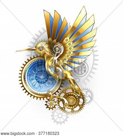 Steampunk, Antique, Gold, Mechanical Hummingbird With Brass And Gray Gears On White Background. Mech