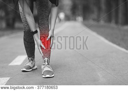 Shin Splints Injury. Female Athlete Massaging Injured Leg, Suffering From Trauma During Jogging In P
