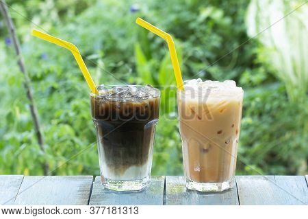 Thai Ice Coffee And Tea On The Table Served In The Garden
