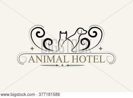 Animal Hotel Vintage Logo Design Template. Hotel And Indoor Pets Run. The Animal Lodge Sign.