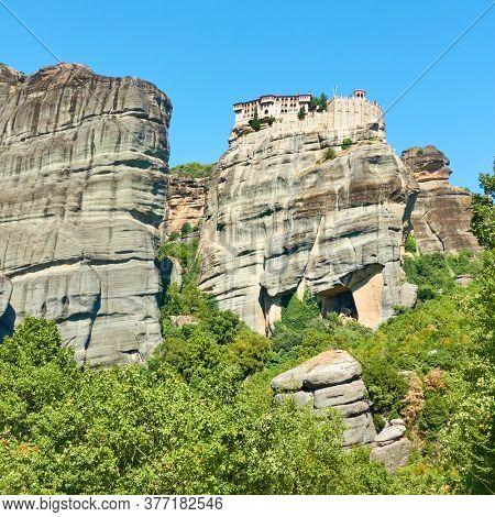 Meteora rocks and Monastery of Varlaam, Greece. Greek landmark
