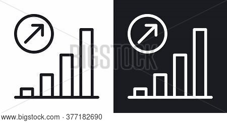 Growth Chart Icon. Concept Of Growing Sales Or Increasing Profits In Business. Simple Two-tone Vecto