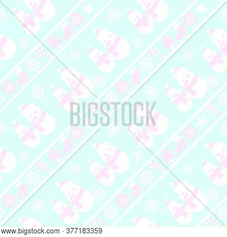 Icy Blue Christmas Snowman Seamless Pattern Background