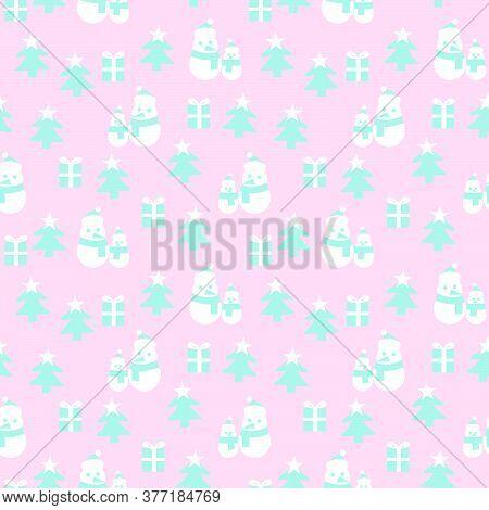 Pink Christmas Snowman Seamless Pattern Background
