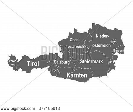 Detailed And Accurate Illustration Of Map Of Austria With Federal States