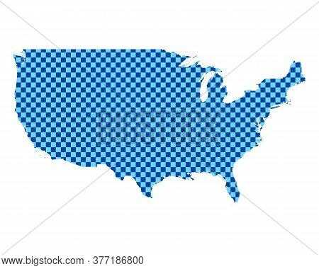 Detailed And Accurate Illustration Of Map Of The Usa In Checkerboard Pattern