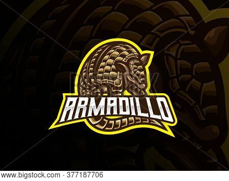 Armadillo Mascot Sport Logo Design. Placental Mammal Mascot Vector Illustration Logo. Wild Armored A